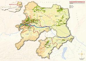topografische kaart van Neder-Oostenrijk