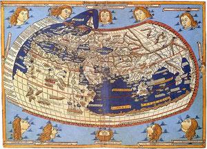 Abb. 1: Weltkarte von Ptolemaios