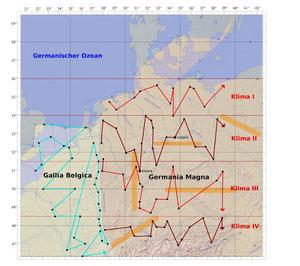 Abb. 2: Reihenfolge der Ortsnennung in der 3. (Gallia Belgica) und 4. (Germania Magna) Europakarte in der Geographie. Die Nummerierung der Klimata ist willkürlich.