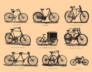 Verschiedene Fahrradtypen um 1900