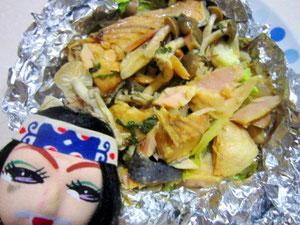 アウトドアレシピ17☆ちゃんちゃん風鮭ホイル焼き