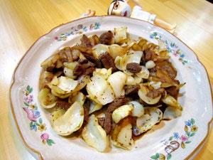 ユリ根と牛肉の黒胡椒炒め