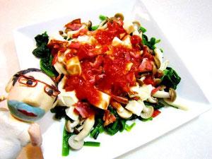トマトドレッシングでほうれん草サラダ