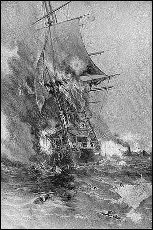 Le Congress en feu le 8 mars 1862 (cliquer sur l'image)