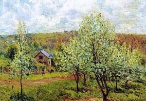 ALFRED SISLEY - Primavera vicino Parigi. Meli in fiore