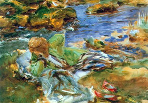 Sargent- Donna sulla riva di un torrente