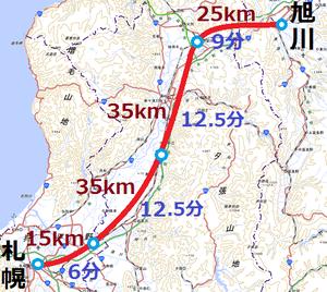 単線新幹線の駅間隔と所要時間(国土地理院地形図を使用)