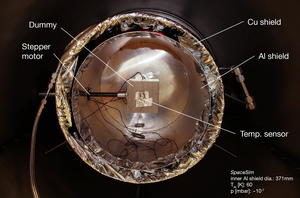 Inner view of the SpaceSim thermal-vacuum test chamber.