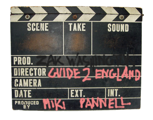 vintage clapper-board with Zakwashington logo