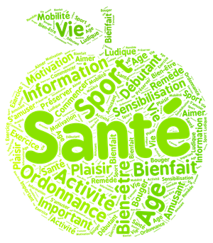 Nuage de tags sur la santé en forme de pomme