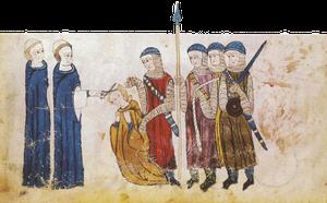 Dégradation d'un clerc. Coutumes de Toulouse, 1296, BnF.