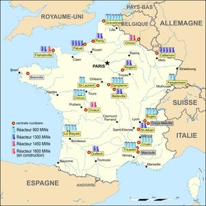 Carte de la répartition des réacteurs en France