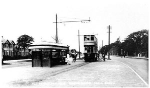 Hall Green tram terminus. Image from the Acocks Green History Society website, reuse permitted. See Acknowledgements.