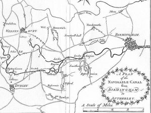 Map (part) of the Birmingham Canal from William Hutton 1783 'An History of Birmingham'