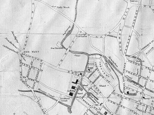Map (part) of Birmingham from Thomas Pye 1818 'A Description of Modern Birmingham'. Note: North is towards the left of the map.