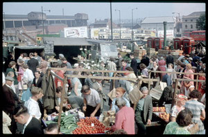 Photograph of the Bull Ring street market, taken on the last day of street trading 12.09.1959. See Acknowledgements for a link to Keith Berry's online collection of photographs.