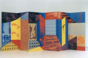 Tokyo, 1994, Paravent, Painting, Screenprint on Canvas, 360 x 150 cm (front)