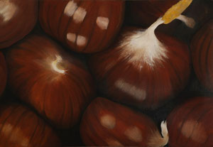 Marrons -02    /  huile sur toile marouflée /    40 x 58