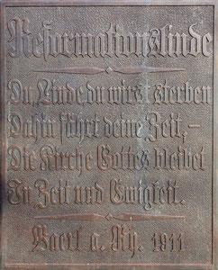 Gedenktafel von 1911; Foto H. Kuhlen