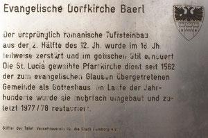 Informationstafel zur Dorfkirche vom Verkehrsverein de Stadt Duisburg e.V.; Foto H.Kuhlen