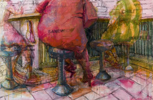 """Daily Special, Camillia Grill, charcoal, acrylic and oil on birch panel, 40"""" x 60"""""""