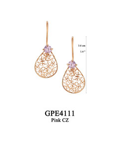 GPE4111 GP 56, OXI 50:  GP HANGING EARRING PINK CZ IN CUP, FILIGREE TEARDROP.