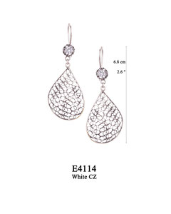 E4114 OXI 65, GP 75: OXI HANGING EARRING WHITE CZ IN CUP, FILIGREE TEARDROP.