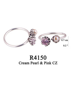 R4150 OXI 65, GP: 75:  OXI RING 2 FILIGREE CUPS 1 W/PINK CZ IN CUP, 1 W/ CREAM PEARL IN CUP.
