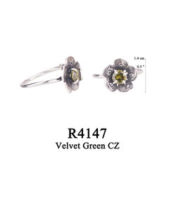 R4147 OXI 50, GP 56: OXI RING FILIGREE FLOWER W/ VELVET GREEN CZ IN CENTER OF FLOWER.