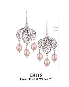 E4116 OXI 75, GP 85: OXI HANGING EARRING WHITE CZ IN CUP, 3 FILIGREE TEARDROP. 3 CREAM PEARL DROPS.