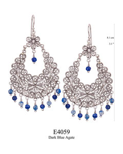 E4059 OXI 140, GP 160: OXI FILIGREE HANGING EARRING DARK BLUE AGATE DROPS.