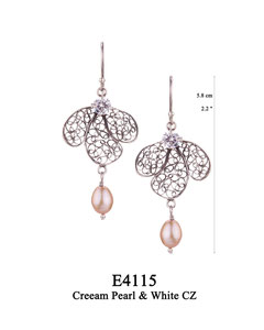 E4115 OXI 70, GP 80: OXI HANGING EARRING WHITE CZ IN CUP, 3 FILIGREE TEARDROP. CREAM PEARL DROP ON CENTER TEARDROP.