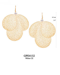 GPE4132 GP 240, OXI 210:  GP HANGING EARRING WHITE CZ IN CUP, 3 BIG FILIGREE TEARDROPS.