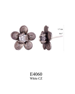 E4060 OXI 44, GP 50: OXI FILIGREE POST EARRING W/WHITE CZ IN CUP.