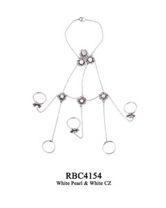 RBC4154 OXI 225, GP 270: OXI RING, BRACELET CHAIN, 3 CLUSTERS FILIGREE FLOWERS CUPS W/WHITE CZ IN CUP, W/WHITE PEARL IN CUP. 2ND ROW 3 FILIGREE FLOWERS W/ WHITE PEARL IN CUP, 5 RINGS 3 WITH FILIGREE CUPS W/ WHITE CZ IN CUPS. ALL CONNECTED BY TWIST CHAIN.