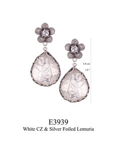 E3939 OXI 135, GP 155: OXI FILIGREE POST EARRING WHITE CZ IN CUP W/ SILVER FOILED AQUA LEMURIA DROP.
