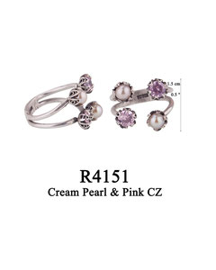R4151 OXI 75, GP 85: OXI RING 4 FILIGREE CUPS 2 W/PINK CZ IN CUPS, 2 W/ CREAM PEARL IN CUPS.