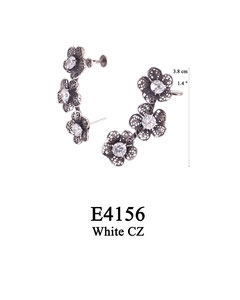 E4156 OXI 110, GP 130: OXI SCREW  POST EARRING 3 FILIGREE FLOWERS W/WHITE CZ IN CUPS, SCREW POST AT OTHER END.