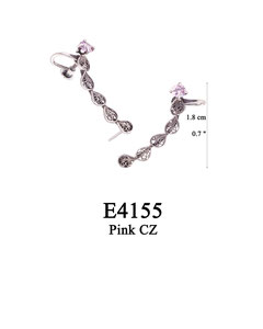E4155 OXI 90, GP 100: OXI SCREW POST EARRING PINK CZ IN CUP, 5 FILIGREE TEARDROPS, SCREW POST ON OTHER END.