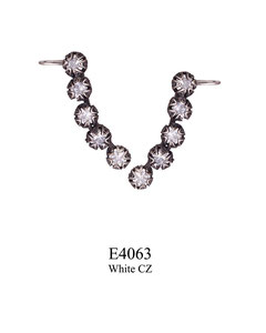 E4063 OXI 120, GP 140: OXI FILIGREE POST EARRING W/ 5 WHITE CZ IN CUPS.