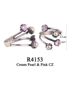 R4153 OXI 73, GP 83:  OXI RING 4 FILIGREE CUPS 2 W/PINK CZ IN CUP, 2 W/ CREAM PEARL IN CUP.