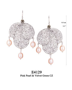 E4129 OXI 120, GP 140:  OXI HANGING EARRING BLACK CZ IN CUP, 3 BIG FILIGREE TEARDROPS. 3 PINK PEARL DROPS.