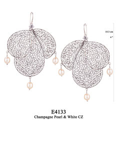 E4133 OXI 225, GP 255:  OXI HANGING EARRING WHITE CZ IN CUP, 3 BIG FILIGREE TEARDROPS. 3 CHAMPAGNE PEARL DROPS.