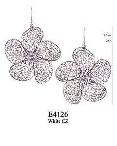 E4126 OXI 120, GP 140: OXI HANGING EARRING LARGE FILIGREE FLOWER. WHITE CZ IN CENTER CUP.