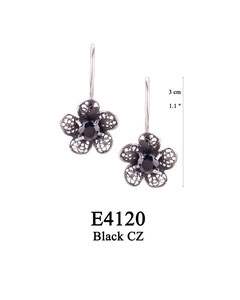 E4120 OXI 39, GP 45: OXI HANGING EARRING FILIGREE FLOWER W/ BLACK CZ IN CENTER CUP.