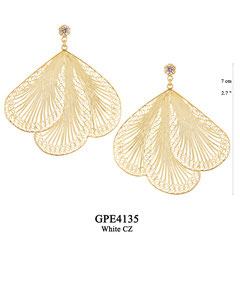 GPE3135 GP 235, OXI 205:  GP POST EARRING WHITE CZ IN CUP, 3 FILIGREE TEARDROP.