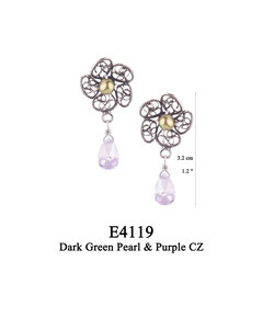 E4119 OXI 45, GP 51: OXI POST EARRING FILIGREE FLOWER W/ DARK GREEN PEARL IN CENTER CUP. PURPLE CZ DROP.