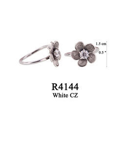 R4144 OXI 50, GP 56:  OXI RING FILIGREE FLOWER W/ WHITE CZ IN CENTER OF FLOWER.