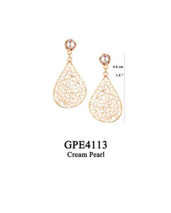 GPE4113 GP 75, OXI 65: GP POST EARRING CREAM PEARL IN CUP, FILIGREE TEARDROP.