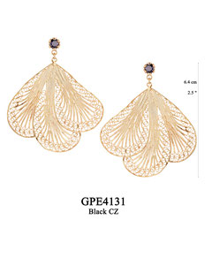 GPE4131 GP 180, OXI 150: GP POST EARRING BLACK CZ IN CUP, 3 FILIGREE TEARDROP.